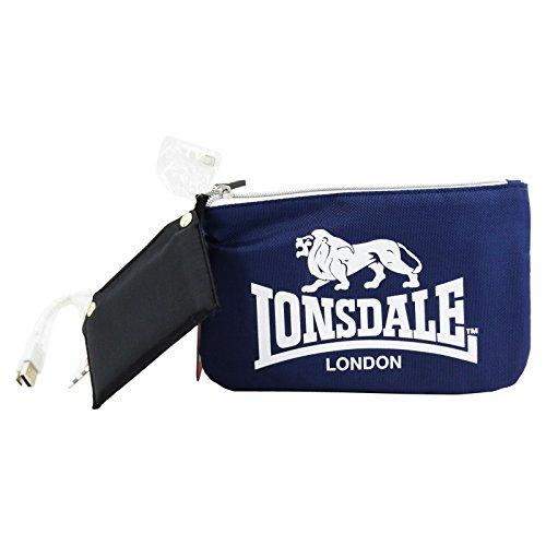 Lonsdale London Feder Tasche Mit Power Bank Kosmetik Make-up Bag Aufbewahrungtasche Blau