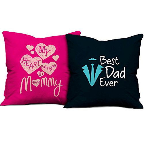 Gift for Father Mother Dad Mom Birthday Anniversary My Heart Belongs to Mommy & Best Dad Ever Pink & Dark Blue Printed 12X12 Small Cushion with Filler set of 2 Everyday Home Decor Gifting  available at amazon for Rs.545