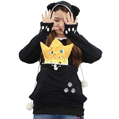 Amlaiworld Sweatshirts Katze und Hund Gro?e Tasche Langarmshirts Damen komfortabel locker Haustierhalter Sweatshirt warm Winter Herbst Kapuzenpullover Pulli (L, Schwarz)