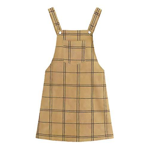 Fcostume Damen Strandkleid, Plaid Niedlichen Riemen Button up Gerade Cord Insgesamt Mantel Pinafore Kleid Button-up-mantel