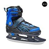 Depruies Verstellbare Eishockey-Schlittschuhe für Kinder und Erwachsene, für Anfänger, Eislaufschuhe, verdickt, für Schüler, Geschwindigkeitsskating, blau, 38-43