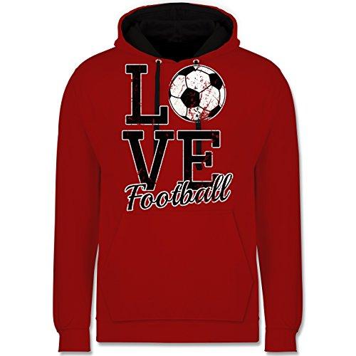 Fußball - Love Football - Kontrast Hoodie Rot/Schwarz