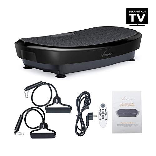 VibroSlim Unisex- Erwachsene Radial 3D Fitness Vibrationsplatte, Schwarz, L 80.5cm x B 46 x H 15.2cm