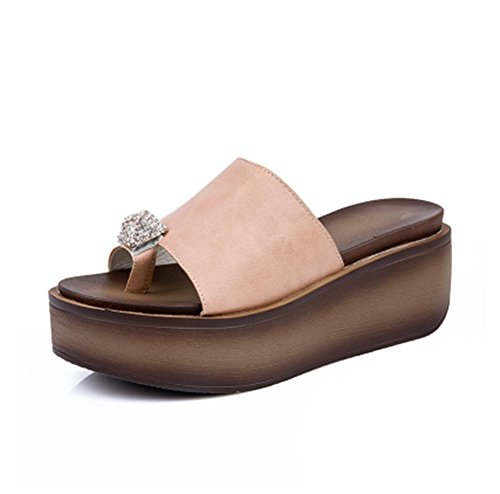 pengweiHausschuhe Damen Sommersandelholze Murmeln dicke Sandalen Schuhe 4