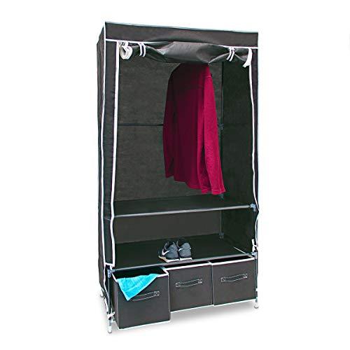 Relaxdays modello valentin l armadio pieghevole xl, tessuto, antracite