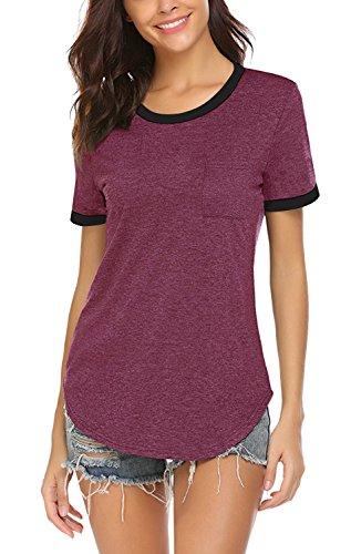 Yidarton Women Summer Casual Tops Short Sleeve T Shirt Basic Shirts with Pockets