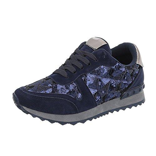 Ital-Design Sneakers Low Damen-Schuhe Sneakers Low Sneakers Schnürsenkel Freizeitschuhe Dunkelblau, Gr 40, G-97-