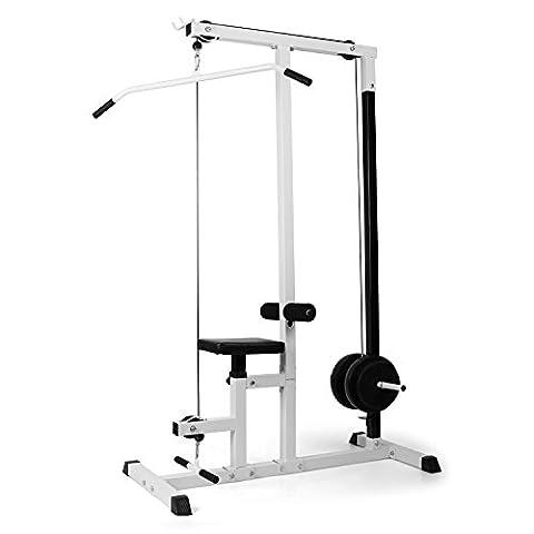 Klarfit FIT-LM01 Station de musculation traction fitness (latissimus, musculation des bras, du haut du corps et du dos, siège ajustable, montage facile, support d