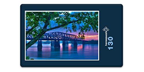 hansepuzzle 17275 Orte - Mississippi-Brücke, 130 Teile in hochwertiger Kartonbox, Puzzle-Teile in wiederverschliessbarem Beutel. - Mississippi-brücke