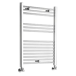 Kudox Premium Chrome Flat Heated Bathroom Towel Radiator Rail 600mm x 800mm