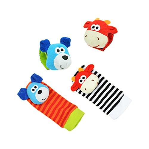 Eleery 4 Pcs Unisex Baby Infant Toddler Animal Rattle Toys Wrist Bands amp; Foot Socks Shoes Newborn Feet Finder Developmental Wear Accessories