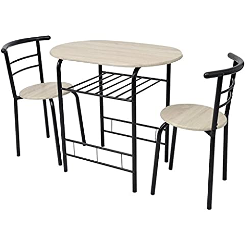 Festnight Frühstückstisch mit 2 Stühlen Bar-Set Bartisch + 2 Barstuhl aus MDF Küchen Tisch Set Sitzgruppe (Kitchen Inseln Frühstück Bar)