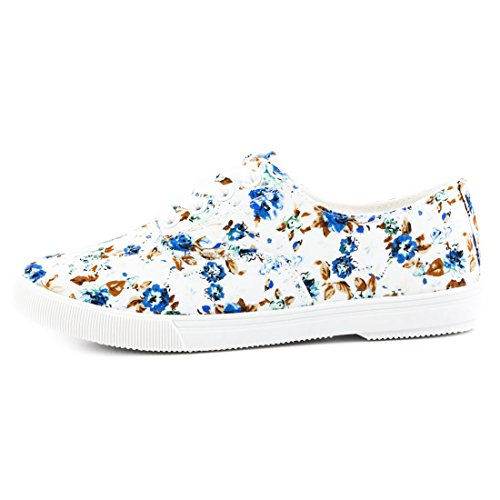 Trendige Damen Low Top Schnür Sneaker Halbschuhe in Textil mit Blumenmuster Weiß/Blau