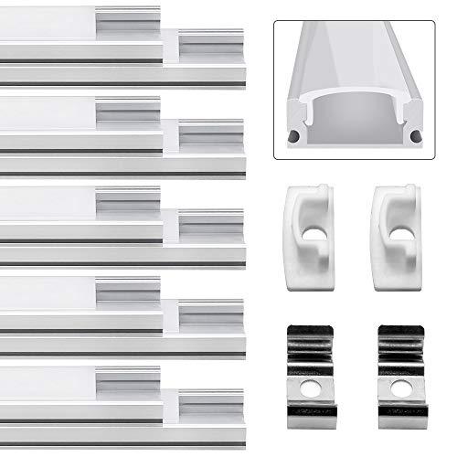 m Profil Aluminium Extrusion Milchig Deckel Endkappen Metall Befestigungs Clips ((Silber)-U02) ()