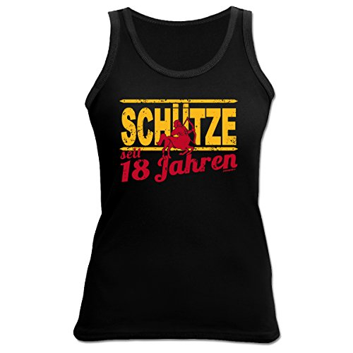 Damen Tank Top zum 18.Geburtstag : Schütze / 18 Jahre Sternzeichen - Damen Shirt 18 Jahre Schwarz