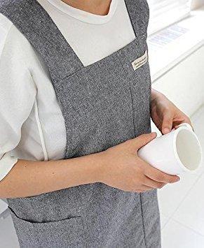Delantal del cocinero de inauguración regalo para las mujeres estilo japonés X forma delantal de algodón Denim H: 95 cm - Color gris