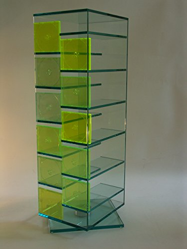 Paul Snajdar Glas CD DVD Regal JANUS 125 cm drehbar Klarglas Archivierung Ständer - Glas-cube-bild
