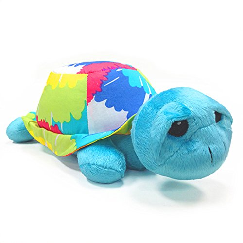 One Grace Place grandioser Tie Dye Stofftier Schildkröte, aqua blau, royal blau, lila, gelb, grün, orange, pink, rot und weiß