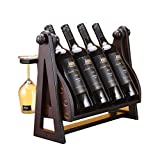 AMY-ZW Portabottiglie da Tavolo - Portabottiglie in Legno Massello - Portabottiglie for Vino da Tavolo - Bar, Cucina, Mobiletto (Color : Brown, Size : 46x25x30CM)