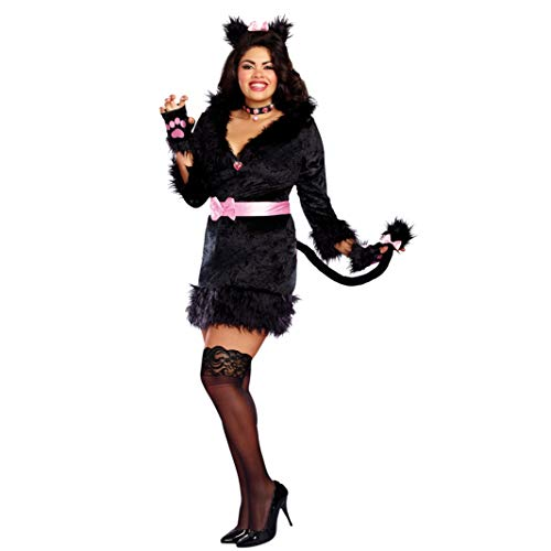 Katzen Kitty Kostüm Für - Dreamgirl XXL Katzenkostüm Gr. L- 3XL Kleid Black Kitty Tierkostüm Kostüm Katze kurvig Fasching (XXL)