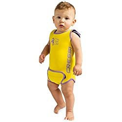 Cressi - Baby Warmer Combinaison de Bain et Natation pour Bébé en Neoprene - Jaune - 12/18 mois