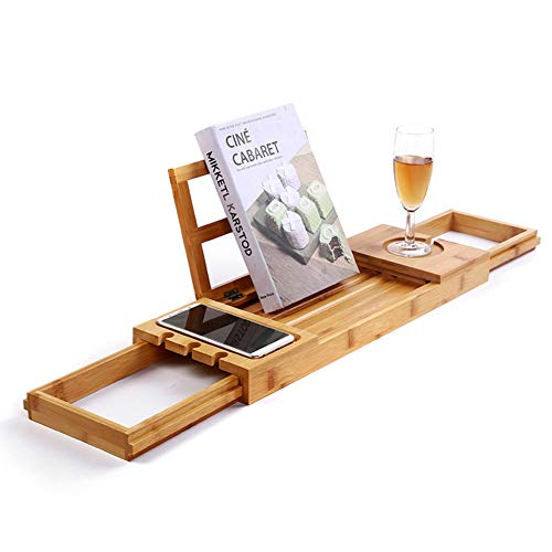 Badewanne Caddy Tray Badewanne Stand Mit Buch und Wein Halter Bad Regal Mit der erweiterung der Seiten Wasser & mehltau resistent-A ()