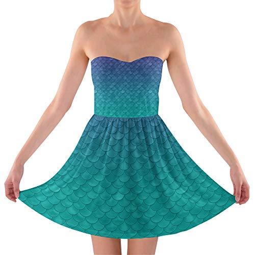 Inspired Sweetheart Strapless Skater Dress - L Trägerlos Sommerkleid ()