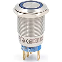 """heschen 19mm (3/4"""") Metal con cierre de seguridad (mantiene) pulsador interruptor 12VDC ojo de águila azul LED IP675A 220VAC"""