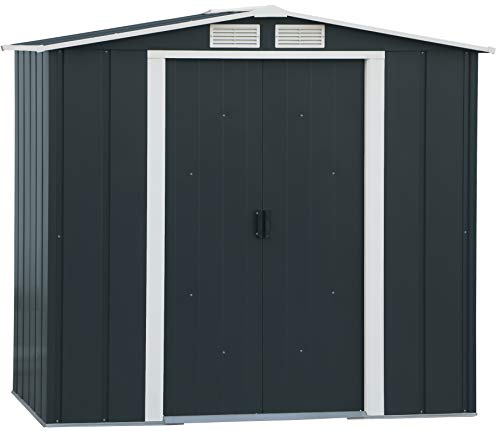 Duramax ECO Hot-Dipped Galvanized Metal Garden Shed - Anthracite with Off-White Trimmings
