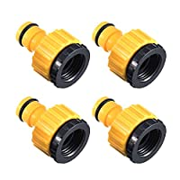 THETAG Garden Hose Tap Connector, 4 Pcs Hose Quick Connector Garden Hose Threaded Tap Connector Fits 1/2 and 3/4 for Gardening, Washing