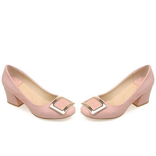 VogueZone009 Damen Ziehen Auf Quadratisch Zehe Mittler Absatz Nubukleder Rein Pumps Schuhe Pink