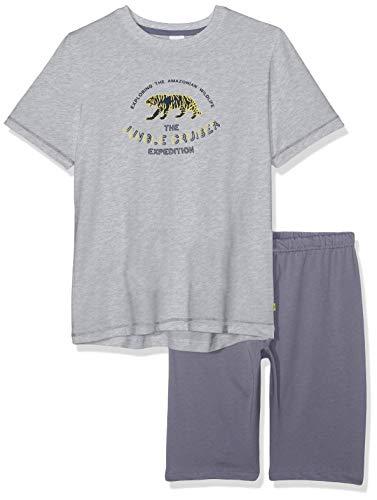 Sanetta Jungen Pyjama Short Zweiteiliger Schlafanzug, Grau (Grey Mel. 1737), 116