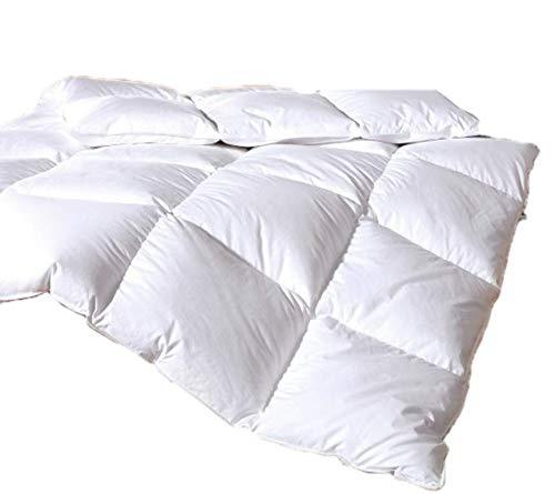 Vitalobett Canadian-Dreams Winter Daunendecke EXTRA WARM 155x200 Daunenbett 1260g GÄNSEDAUNEN Hochstegbett 8cm hohe Innenstege Wärmeklasse 4 (155x200 cm, weiß)
