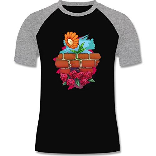 Statement Shirts - Mauerblümchen - zweifarbiges Baseballshirt für Männer Schwarz/Grau Meliert