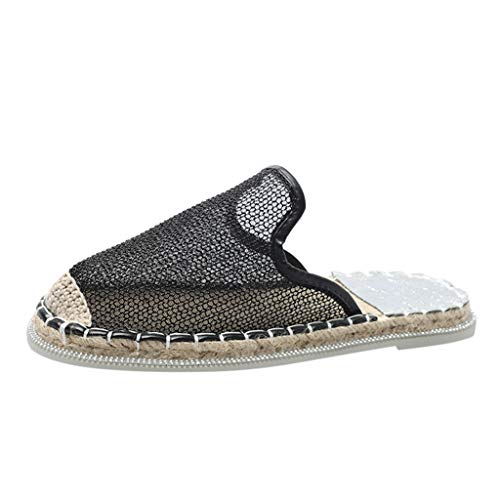 Frauen Chic Mule Loafer Damen Slip On Flache Schuhe Komfortable Slipper Freizeitschuhe Mesh Atmungsaktive runde Kappe Flatform Espadrilles