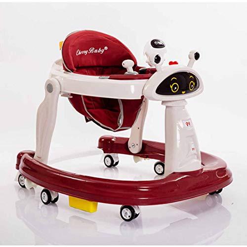 Klappbar Babystuhl Lauflernhilfe Gehfrei Lauflernwagen Justierbar in der Sitz-Tuch,Red