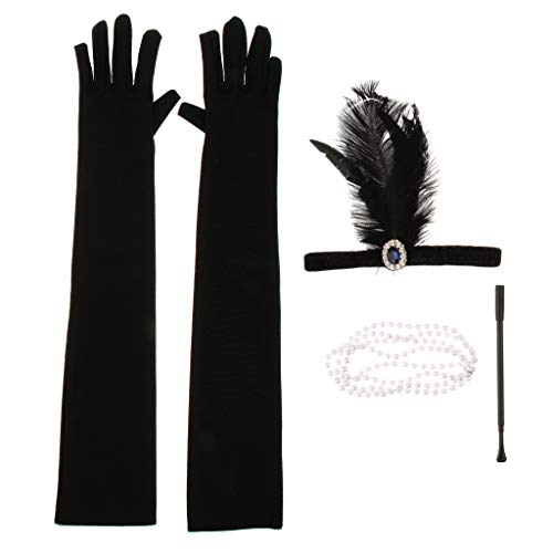 SM SunniMix 4pcs Retro Gatsby Kostüm Accessoires Set Charleston Zubehör Set Flappers Kit für Cosplay Hen Party und Karneval - F Satz