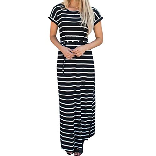 Trada Damenkleider, Mode Frauen Sommer Elgant V-Ausschnitt Ärmellos Boho Streifen Lange Maxi Kleid Abend Party Strand Kleider Cocktailkleid Casual Evening Party Long Dress (XL, Schwarz)