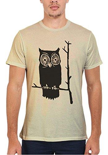 Owl Cute Funny Cool Men Women Damen Herren Unisex Top T Shirt Sand(Cream)