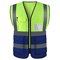 True Face High Visibility Waistcoat Safety Vest with Pockets (XXL, 6686 - Blue/Yellow)