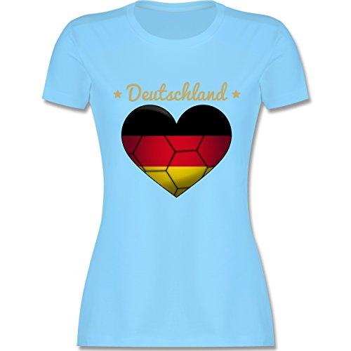 Handball WM 2019 - Handballherz Deutschland - XXL - Hellblau - L191 - Damen Tshirt und Frauen T-Shirt