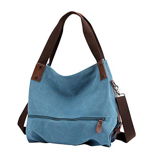 Gindoly Damen Canvas Handtasche Klein Vintage Shopper Schultertasche Henkeltasche Hobo Tasche Beuteltasche Blau EINWEG