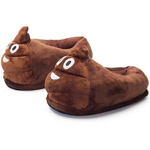 Katara 1782 Haus-Schuhe mit Emoji-Motiv; Plüsch Pantoffeln für Zuhause oder Fasching-Karneval, Smiley Schlappen in verschiedenen Designs - witziges Geschenk für Geburtstag oder Weihnachten für Kinder (Tolle Halloween Kostüme 2017 Erwachsene)