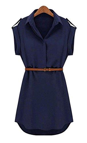DELEY Fashion Damen V-Ausschnitt Kurzarm Casual Sommerkleid Chiffon Bluse Shirt Mini Kleid Marine-Blau