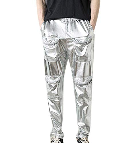 (kasonj Herren Nachtclub Metallic Hose Disco Dance Kostüm Tägliche Streetwear)