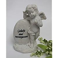 Grabschmuck Engel Herz Teelichthalter Gedenkstein Grab Stein Deko Figur Skulptur