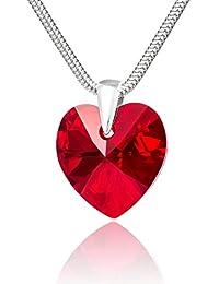 LillyMarie Femme Argent Chaîne Vrai Swarovski Elements Originaux Cœur Rouge Longueur Réglable Boîte Cadeau Meilleurs Cadeaux Pour la Saint Valentin