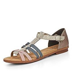 Rieker Damen Frühjahr/Sommer Geschlossene Sandalen, Weiß (Ice/Rose/Jeans/Grey 80), 43 EU