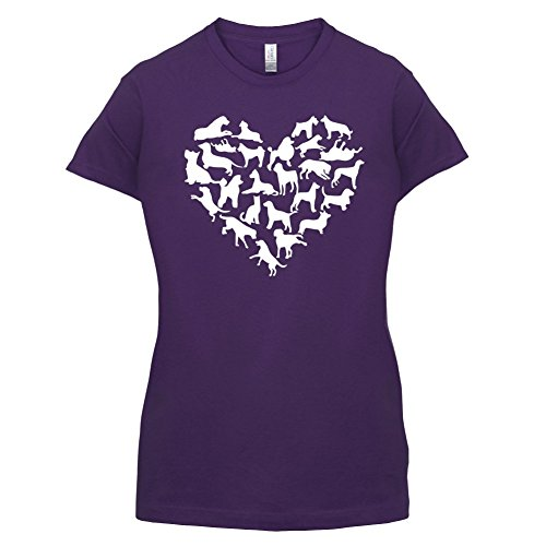 Love Heart Dogs - Damen T-Shirt - 14 Farben Lila