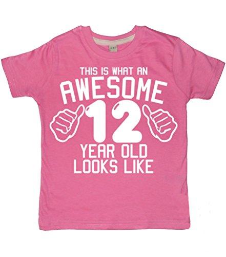 Dieses wie eine tolle 12 Jahre alt, sieht aus wie Bubblegum Pink Mädchen T-shirt, für den 12. Geburtstag, 12-13 Jahre, mit Glitzer, Weiß (Sieht Alt Wie Aus T-shirt)
